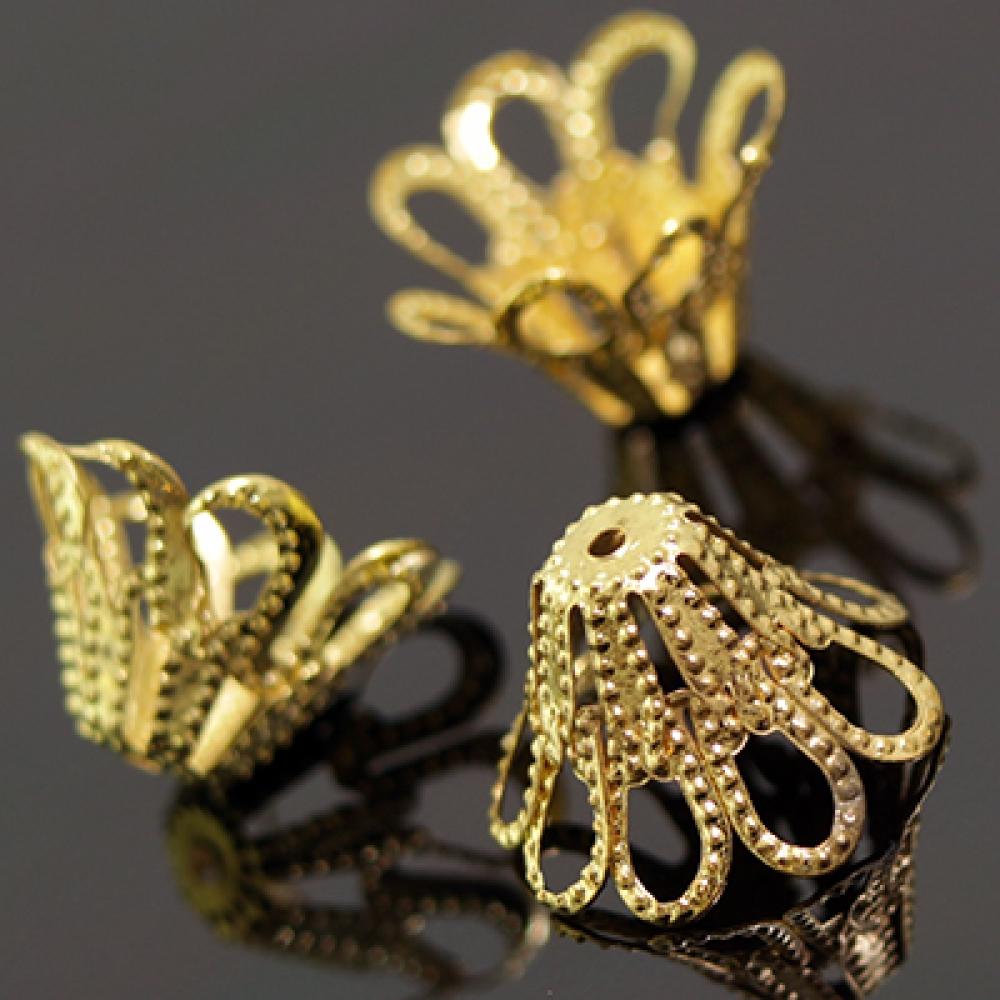 Конус Шапочки (IN-D016) цветок 14х9мм, Золото
