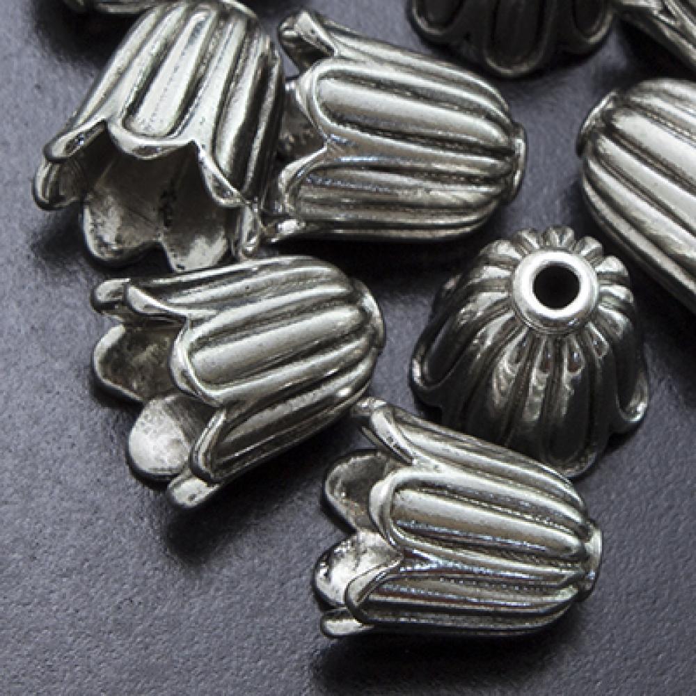 Конус Шапочки (B-00864) цветок 10х10мм, Античное Серебро