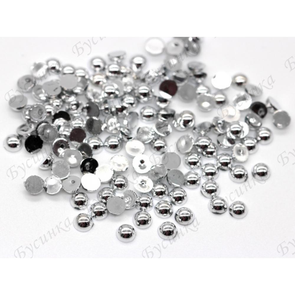 Полубусины акриловые 4 мм., Цвет: Серебро~140 шт. 2,5 гр.