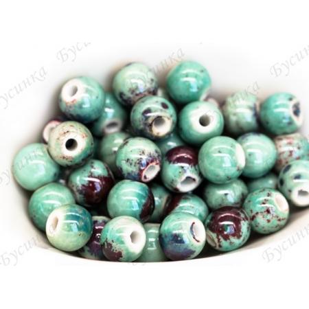 Бусины Керамические круглые глазурь 10 мм